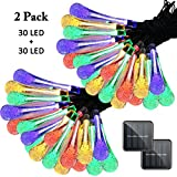 Image of Vmanoo Christmas Decorative Solar Powered Lights, 30LED 19.7ft 8Modes Water drop Fairy String light for Outdoor, Indoor, Home, Patio, Lawn, Garden, Party, Wedding, Gift,Waterproof 2 PACK (Multi-color)