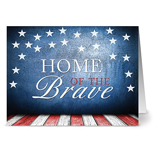 (24 Patriotic Note Cards - Home of the Brave - Blank Cards - Red Envelopes Included)