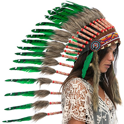 Long Feather Headdress- Native American Indian Inspired- Handmade by Artisan Halloween Costume for Men Women - Real Feathers - Green Duck