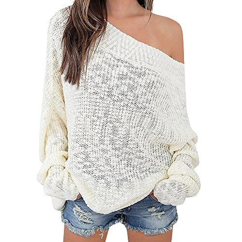 Exlura Women's Off Shoulder Batwing Sleeve Loose Oversized Pullover Sweater Knit - Dress Front Cross Knit