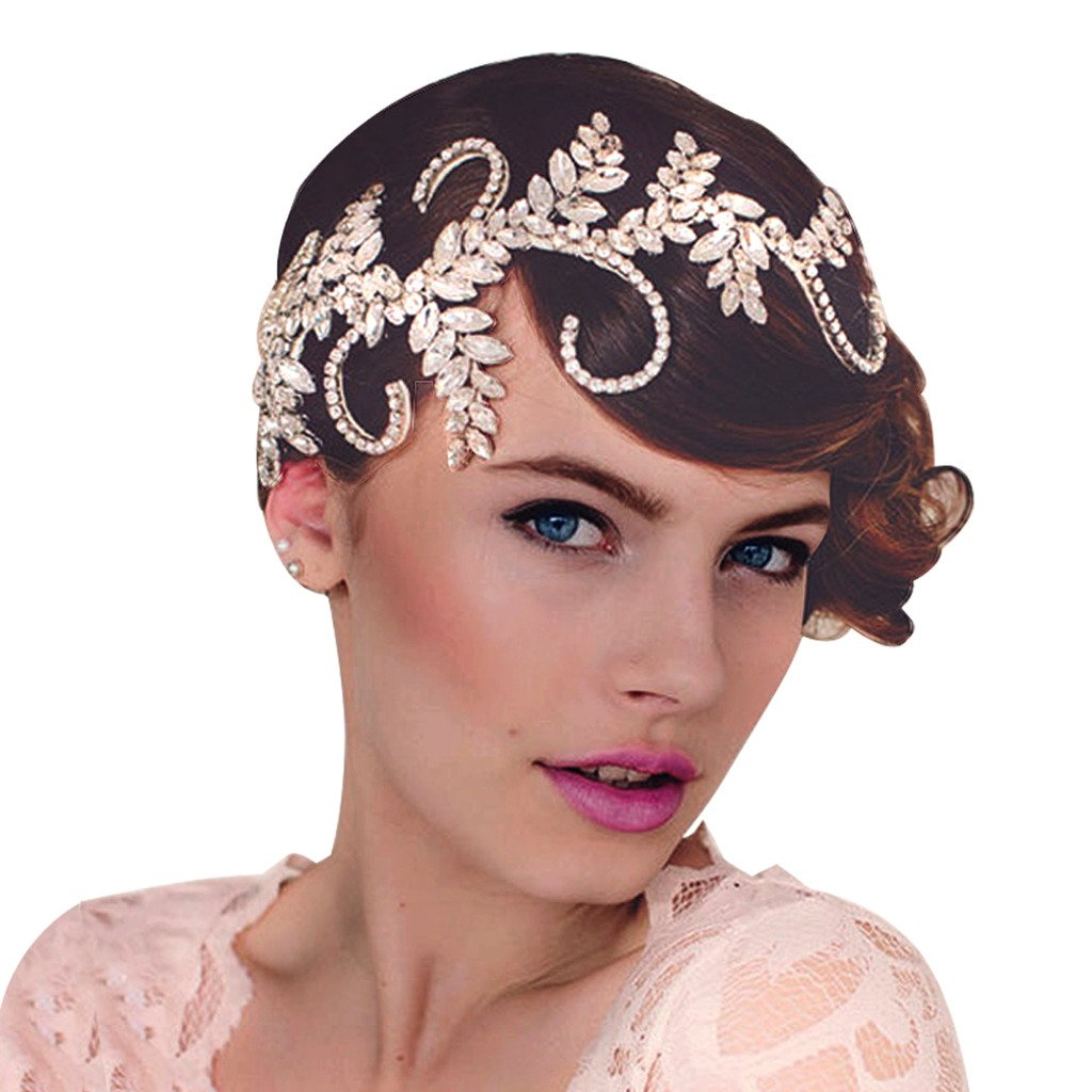 Edith qi Retro Art Deco 1920s Rhinestone Flapper Headband for Beach Wedding Tiara Party Princess Headpiece