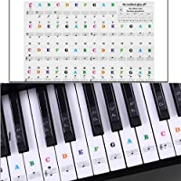 Klavier Aufkleber Abnehmbare Transparent Noten-Aufkleber Klaviertasten Aufkleber für Klavier und Keyboard mit 37/49/54/61/88 Key Piano (weiße & schwarze,Color) (Farbe)