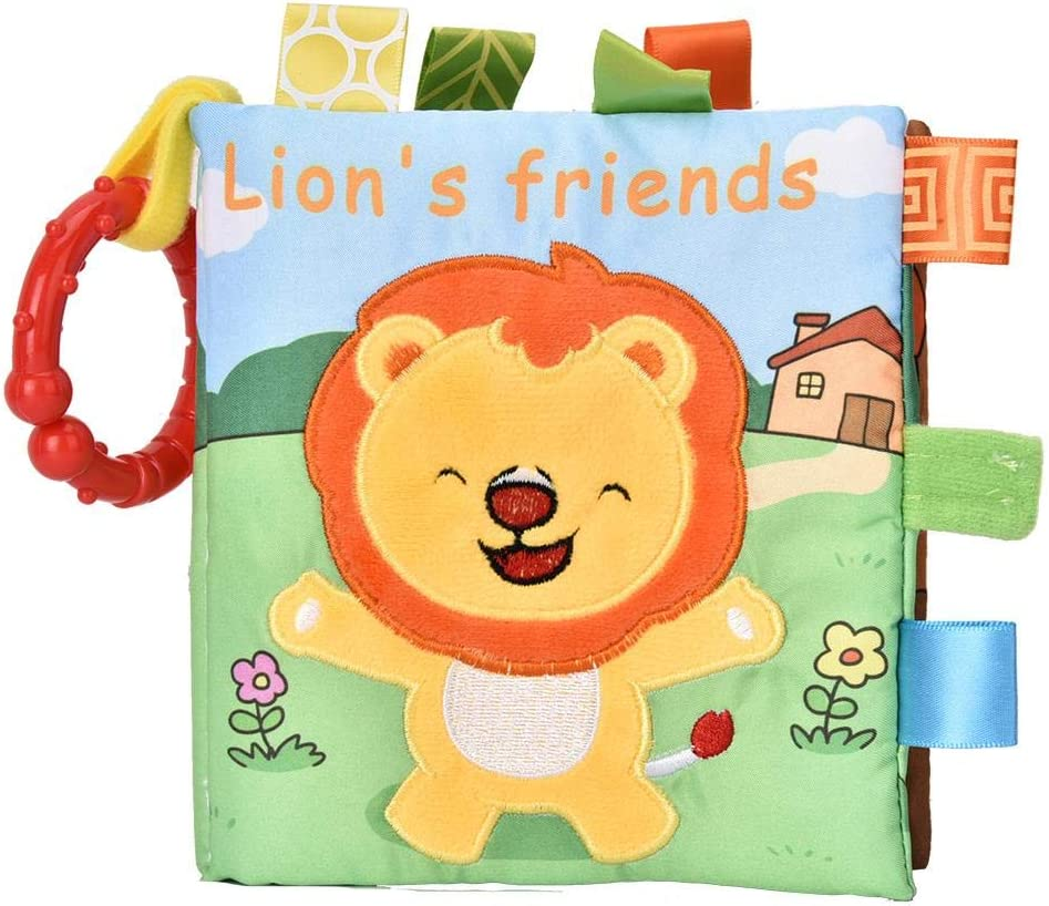 Livre de Tissu de B/éb/é Livre de Hochet de D/éveloppement Livre en Tissu Livre de dispositif doux de BB Livre Pr/éscolaire pour Enfants au-dessus de 6 Mois Lion