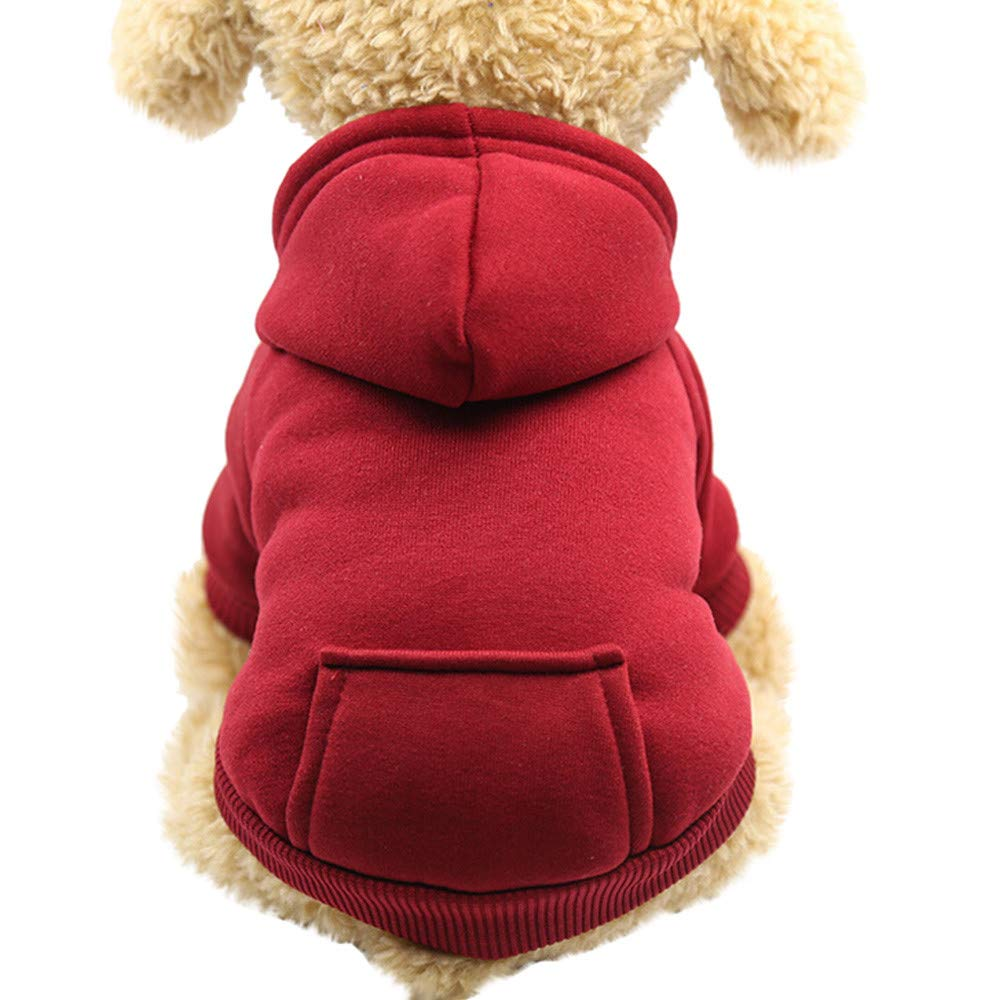 haoricu Pet Clothes, 2017 Cat Puppy Winter Warm Pet Hoodie Sweater for Small Dogs Jacket Coat Apparel (M, a-Wine)