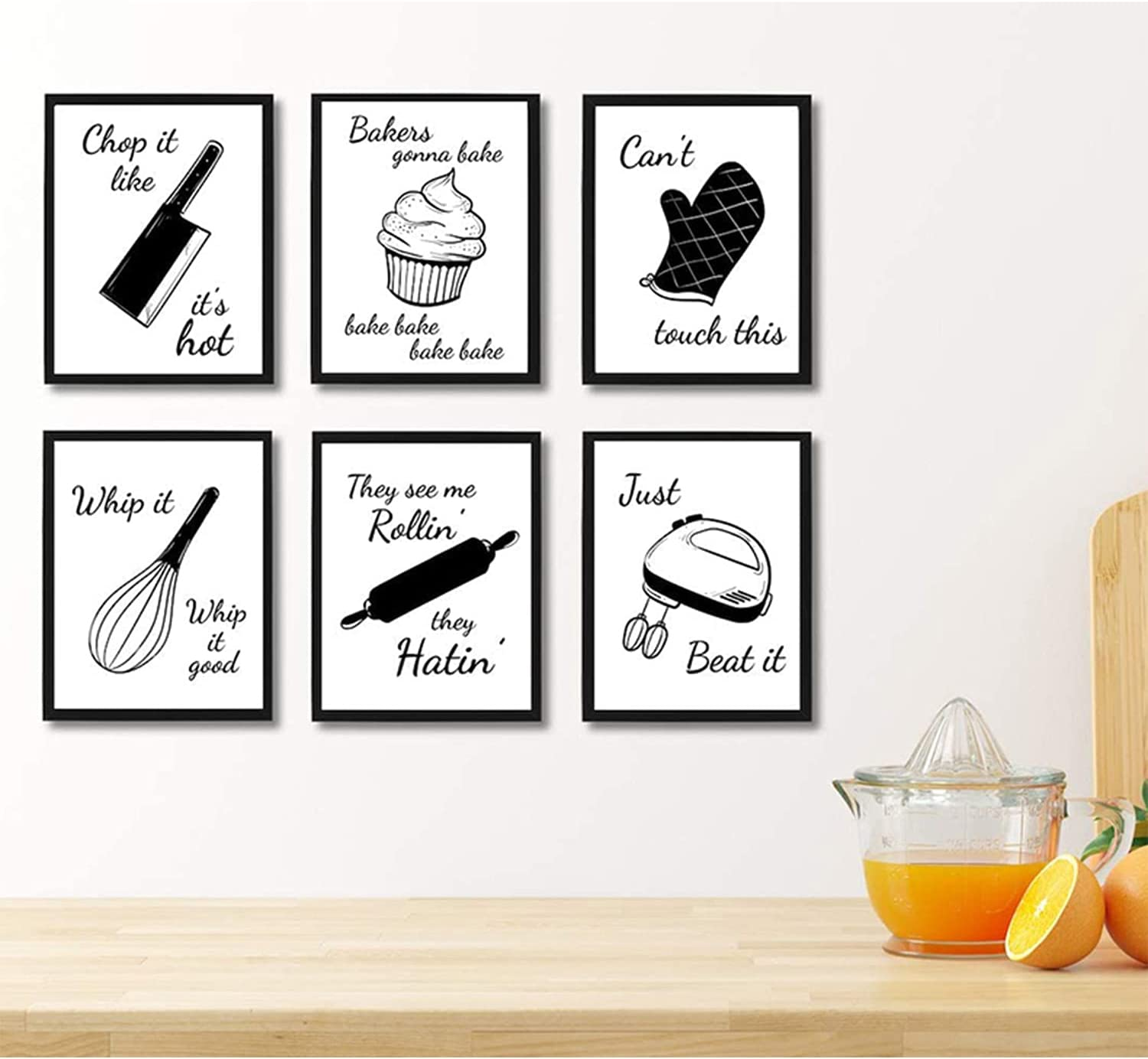 6 Pieces Kitchen Canvas Wall Art Decor, Funny Farmhouse Kitchenware with Sayings Posters, for Home Kitchen Baking room Cafe Restaurant Decorations