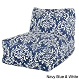 Majestic Home Goods Navy and White French Quarter Bean Bag Chair Lounger