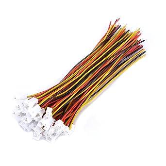 3 Broches Micro Connecteur Electrique M/âle et Femelle avec C/âbles JST 2 Broches 20Pcs Connectors JST 1,25 mm JST 2 Broches