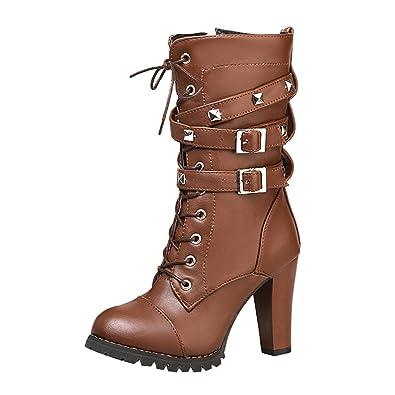 SHOWHOW Damen Modern Nieten Biker Boots Stiefel mit Absatz Stiefelette Schwarz 36 EU 7aijac