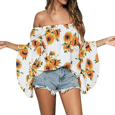 Qingsiy Blusas Camisetas Mujer Tallas Grandes, Camisetas Mujer Verano Blusa Mujer Elegante Camisetas Mujer Manga Corta Camiseta Mujer Fiesta Camisetas Sin Hombros Mujer: Amazon.es: Ropa y accesorios