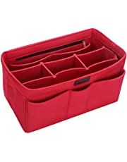 Ropch Felt Insert Bag, Organizer Bag in Bag Handbag Purse Organizer Insert Multi-Pocket Handbag Organizer with Removable Compartment, Red, L