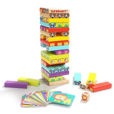 Karaze 78 Wooden Tumbling Tower Toy- Colored Stacking Building Blocks with Animal Pictures, Card & Dice Party Game -Gift for 4 Year Old Kids & Toddlers Boys Girls: Toys & Games