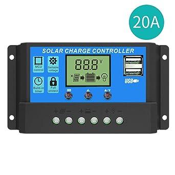 SOLKA Puertos USB Dobles 20A Cargador Solar Controlador 12V / 24V PWM Pantalla LCD Panel Solar Inteligente Regulador de Batería