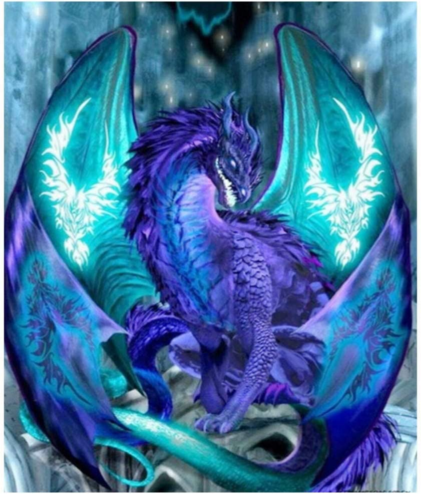Dragon Girl Diamond Painting Kits for Adults Large 15.75X19.7 Inch Dragon Full Drill Round Rhinestone Cross Stitch Embroidery Art Perfect for Relaxation and Home Wall Decor