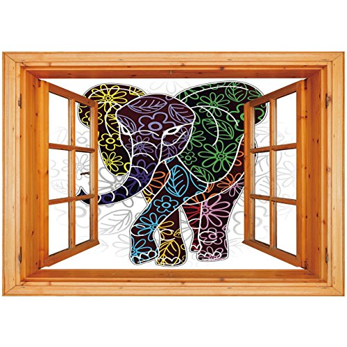 3D Depth Illusion Vinyl Wall Decal Sticker [ Batik Decor,Digital Big Elephant Figure with Floral Lines and Tribal Shapes Wild Life Theme,Multicolor ] Window Frame Style Home Decor Art Removable Wall S