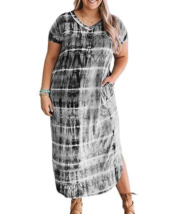 YONYWA Women V Neck Striped Maxi Dress Plus Size Short ...