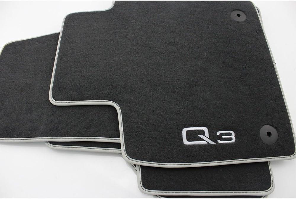 Audi Premium Front Textile Foot Mats Black // Silver Grey 2 Pieces 8U1061275MNO