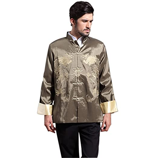 58ffdcf7de4d5 Amazon.com  Mens Chinese Kung Fu Long Sleeve Silk Tang Shirt Double Dragon  with Pearl Green  Clothing