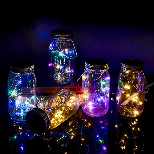 Yzan 5 Pcs Mason Jar Solar Light Kit Included Multicolor and Warm White LED Fairy Canning Light Mixed with Handles and PVC Cards for Patio Yard Garden Party Wedding Christmas (Jars Not Included)]()