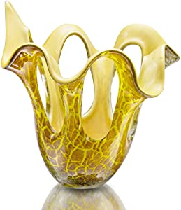 Yellow Lava Art Glass Vase