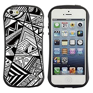 Pulsar iFace Series Tpu silicona Carcasa Funda Case para Apple iPhone 5 / iPhone 5S , Blanco Chevron Líneas Resumen Pen""