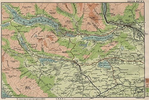 CALLANDER ENVIRONS. Ben Ledi Ben Venue Loch Katrine Loch Vennachar - 1908 - old map - antique map - vintage map - Scotland maps