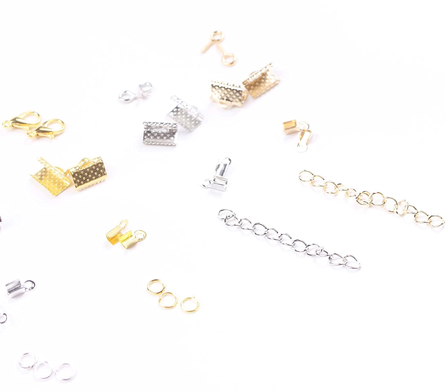Cord Ends Jump Rings Screw Eyes Pin BIHRTC 24 Style 1860 Pcs Jewelry Making DIY Kit Accessories Lobster Clasps Ribbon Ends Extension Chain with Jump Ring Open Tool in a Clear Box
