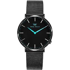 Welly Merck メンズ アナログ表示 スイスムーブメント 腕時計 ステンレスベルト ブラック 防水