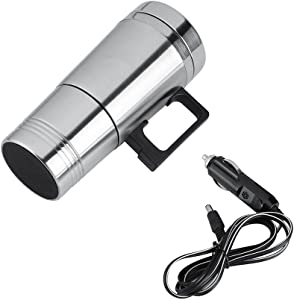 Car Heating Cup, Simple 12V/24V 300ml Portable in Car Coffee Maker Tea Pot Vehicle Heating Cup Lid Outdoor Water Bottle(12V)