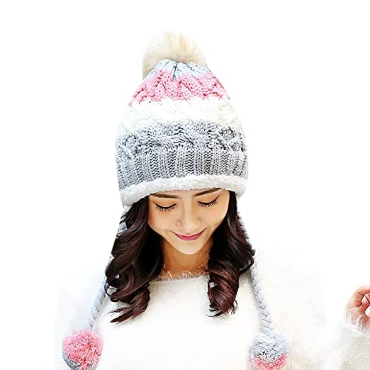 Amazon.com  Winter Warm Knit Beanie Hats with Ear Flaps for Women (Grey)   Clothing f0a588cf66