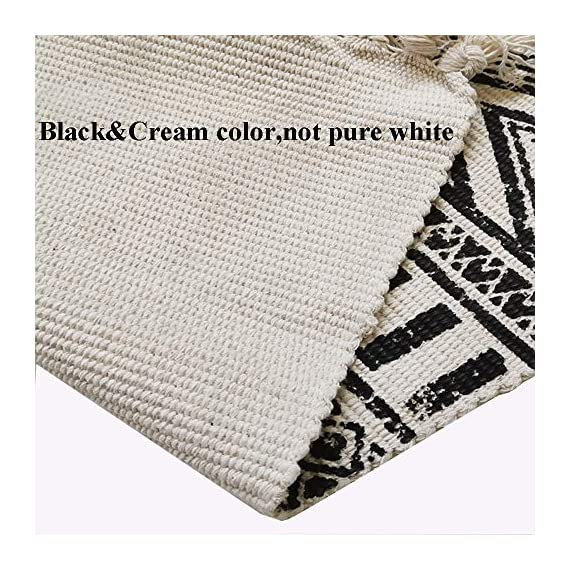 "HEBE Cotton Area Rug Set 2 Piece 2'x3'+2'x4.2' Machine Washable Black and Cream White Hand Woven Cotton Rug with Tassels Cotton Area Rug Runner for Living Room, Kitchen Floor, Laundry Room - Cotton Rugs Size: Hand Woven cotton tassel rugs set 2 pieces, small cotton accent rug measures 2'x3'(60*90cm) and long cotton runner rug measures 2'x4'3""(60x130cm). Durable Cotton Rugs: Our cotton rug well made by 100% Natural Cotton material.Great water absorption,protect your floors from moisture, stains and scratches,give soft and breathable touch when people walk on them. Classic Design: Cotton rugs designed with geometric patterns and extra snazzy knotted fringe tassels on each side which make them seem simple. Black and cream white color that will make it never go out of style and long time stay on the floor and also match all themed room decor. - runner-rugs, entryway-furniture-decor, entryway-laundry-room - 61cGadGz17L. SS570  -"