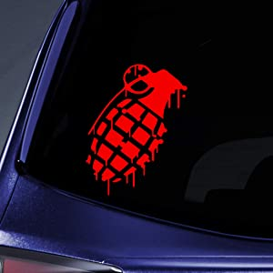 "Bargain Max Decals - Grenade Dripping - Sticker Decal Notebook Car Laptop 5"" (Red)"