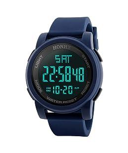 Siviki Sports Watches Men Digital Analog Waterproof Big Face Military Army Green Nylon LED Wrist Watch (Blue)