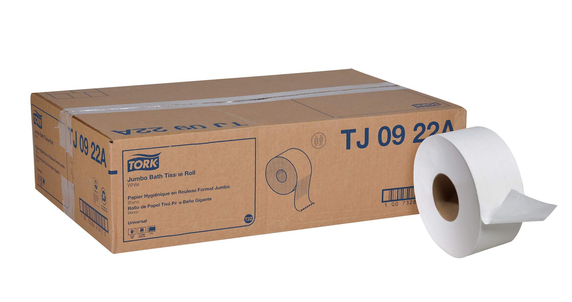 Tork Universal TJ0922A Jumbo Bath Tissue Roll, 2-Ply, 8.8'' Dia, 3.55'' Width x 1,000' Length, White (Case of 12 Rolls, 1,000 per Roll, 12,000 Feet) by Tork