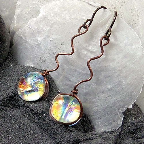 Dichroic Fused Glass Drop Earrings in Translucent Fire Like Colors, Squiggle Antique Copper Earrings, Hypo Allergenic Niobium Wires, Also Available in Gold-Filled Wire Wrapping