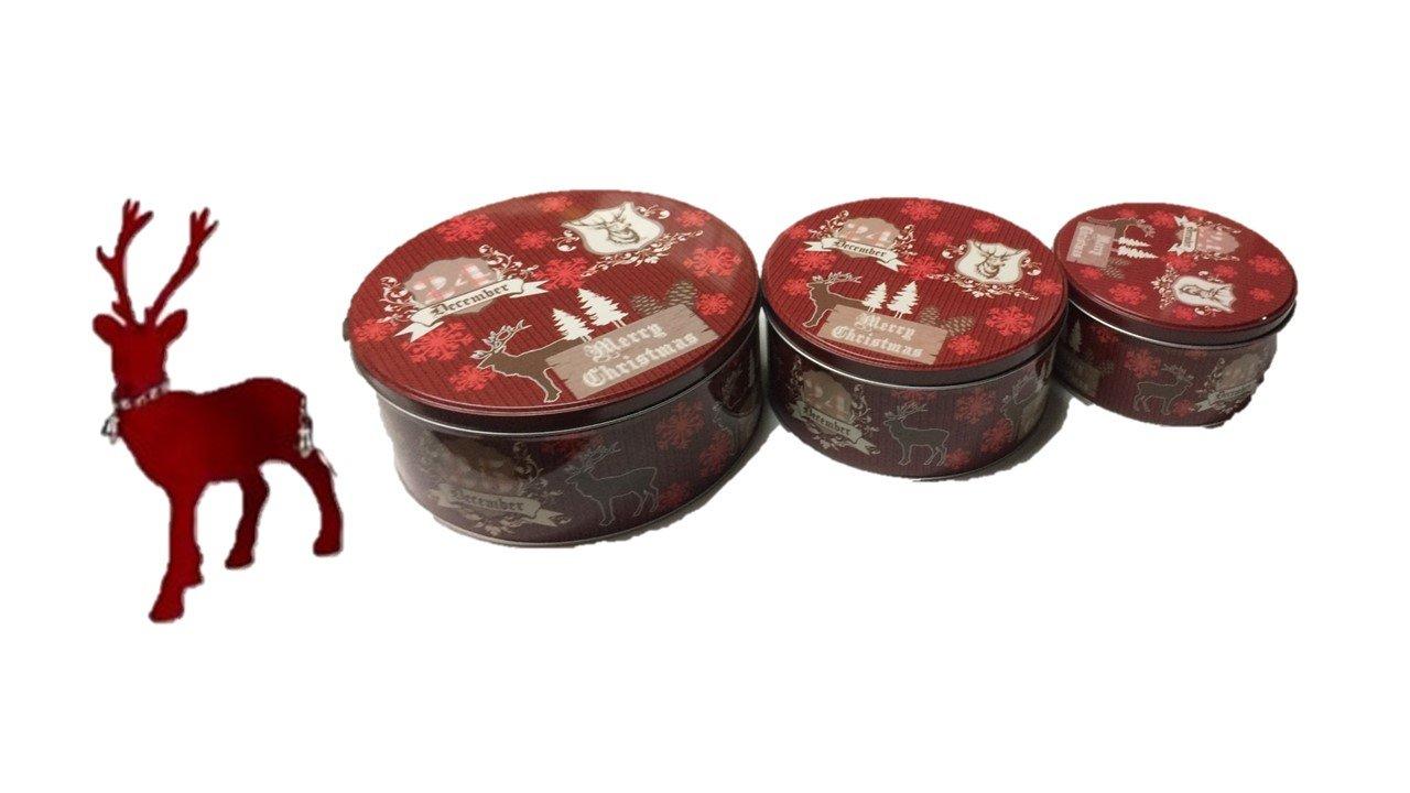 Gebäckdosen-Set bestehend aus 3 verschieden großen Dosen - ideal geeignet für die Aufbewahrung von Backware - besonders in der Weihnachtszeit mit Hirsch wak