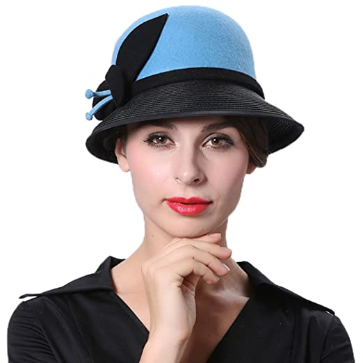 3b506620be4 Koola s Women s Woolen Top Hat Small Jazz Hat Sun Hat Felt Hat Warm Winter  Snow Blue