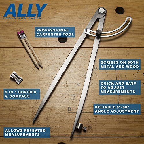 ALLY Tools 12'' Wing Divider Pencil Holder/Compass Scribe Kit INCLUDES Two Pencils and Metal Pencil Sharpener Ideal for Drawing Circles, Scribing Wood, Scribing Metal, Drafting, and Map Plotting by ALLY Tools and Parts (Image #3)