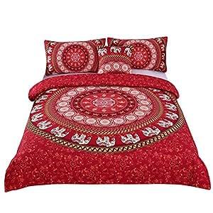 Sleepwish Red Elephant Mandala Bedding 4 Pieces Bohemian Elephant Ring Duvet Cover Set Boho Chic Bedding Full Size