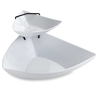 Sleek & Stylish 2-Tier Chip and Dip Serving Set in Stunning White by B. Smith