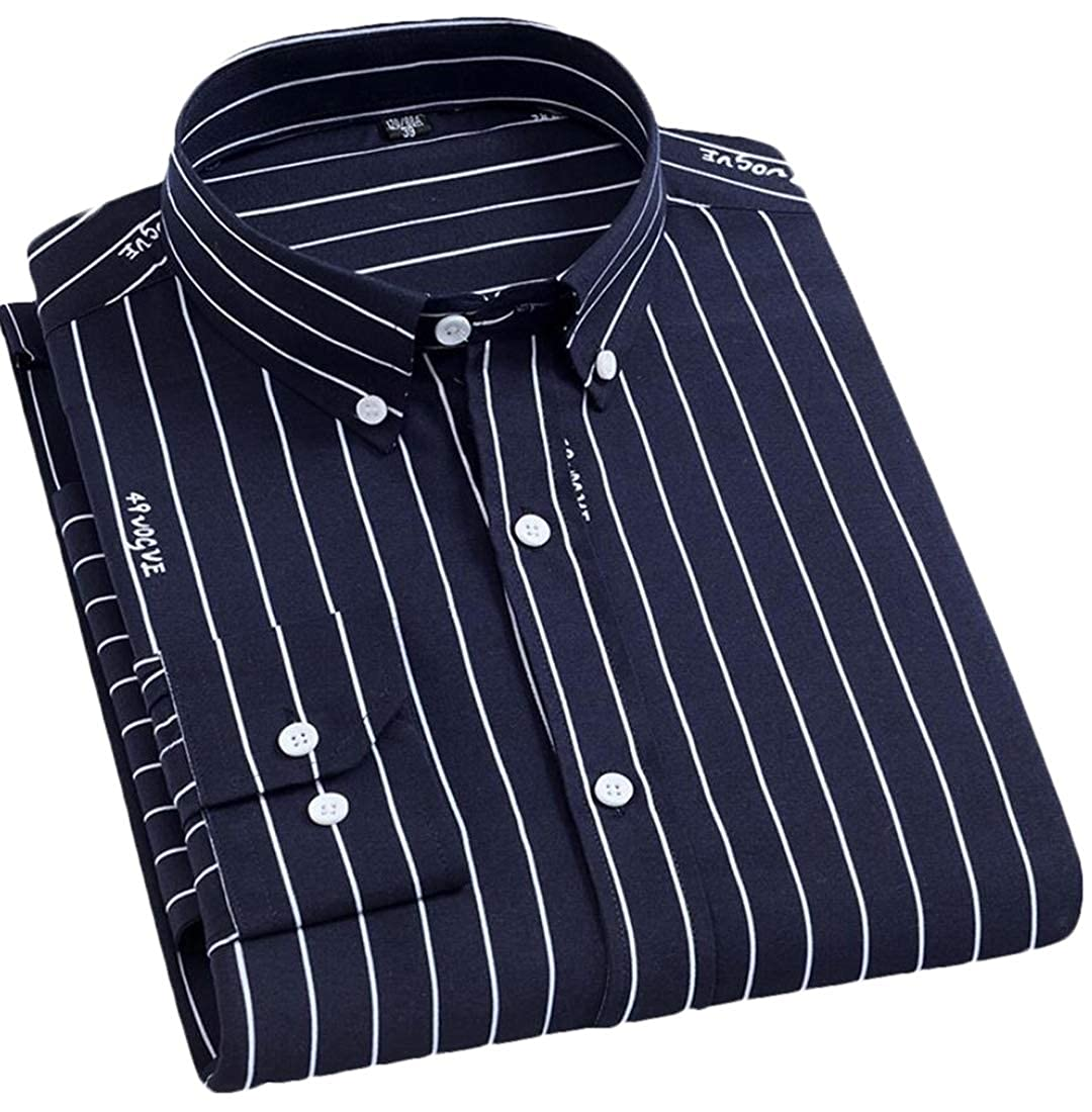 Hokny TD Mens Formal Stripe Long Sleeve Casual Slim Fit Button Down Dress Shirts