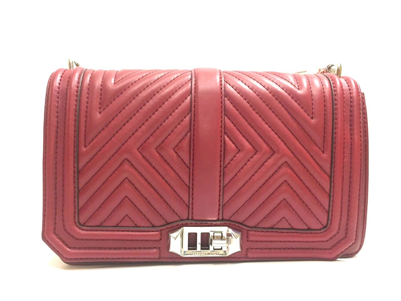 Geo Quilted Love Shoulder Bag softly grained cowhide tawny port by Rebecca Minkoff (Image #1)