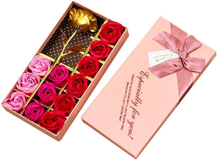 AOI Juego de Regalo romántico, 12 Flores de jabón y Rosas Doradas con Caja de Regalo para Fiesta de cumpleaños, Día de la Madre, Día de San Valentín, Aniversario (gradiente de Color Rosa)