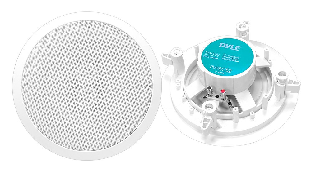 Pyle-Home PWRC52 5.25-Inch In-Ceiling Dual-Channel/Voice Coil Weather Proof Speaker Sound Around