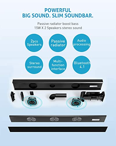 TV Sound Bar Meidong Sound Bars for TV Soundbar Bluetooth Sound Bar Speakers 3D Surround Sound with Enhanced Bass Home Theater Sound Bars Wired and Wireless Connection Soundbar Speakers