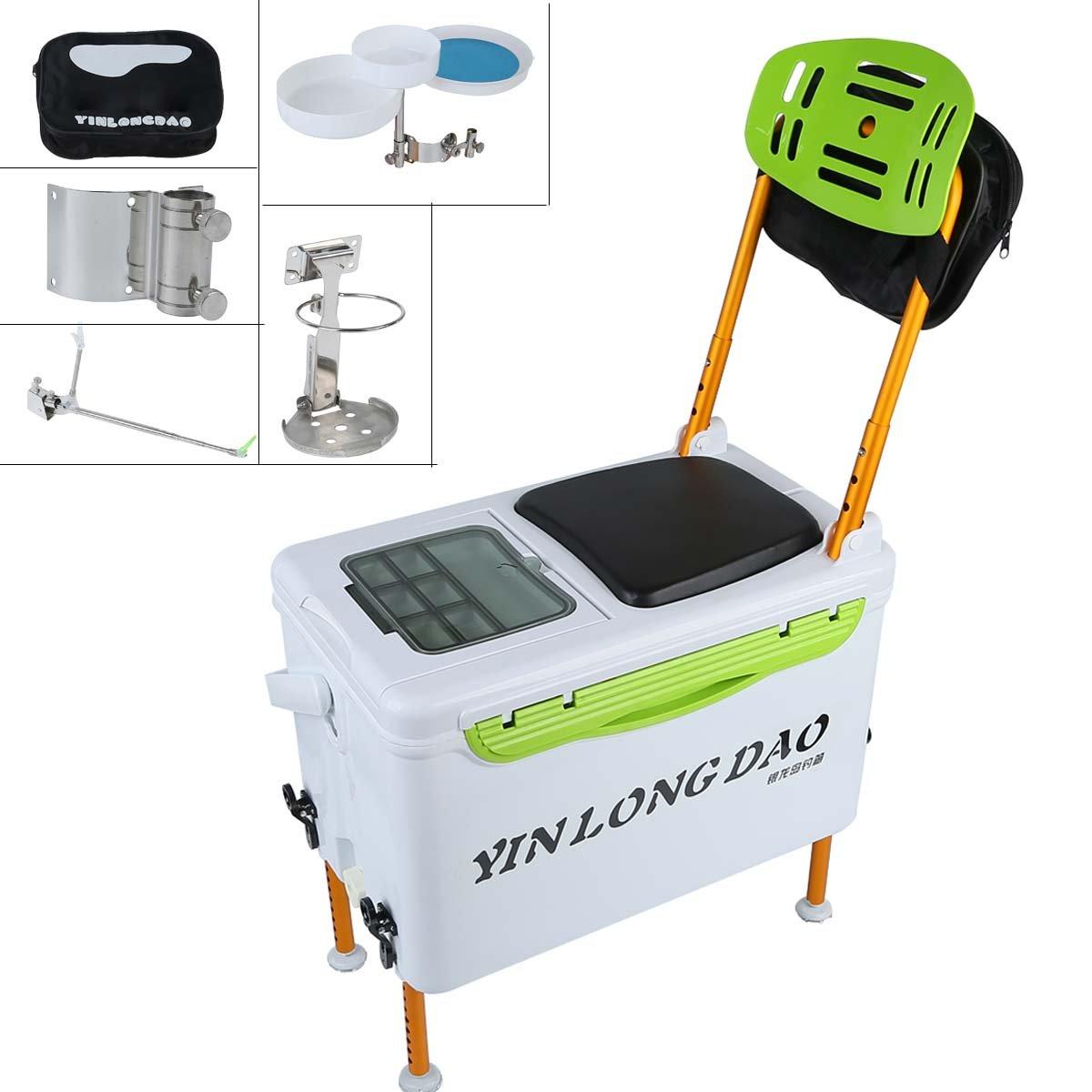 Tengchang Fishing Tackle Box Portable Fish Stuff Storage Case Adjustable Backrest Seat by Tengchang