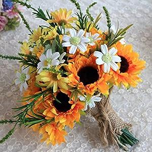 Baoblaze Artificial Wedding Bride Flower Sunflower Bouquet for Wedding Ceremony Supplies 113