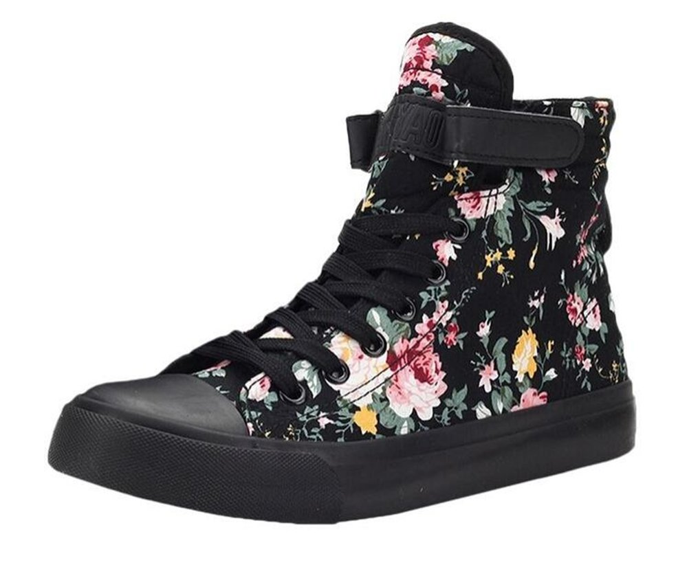 SATUKI Adult Women's Flat Floral High Top Lace up Casual Canvas Shoes Fashion Sneakers B01N3ZW17W 5.5 B(M) US|Pure Black