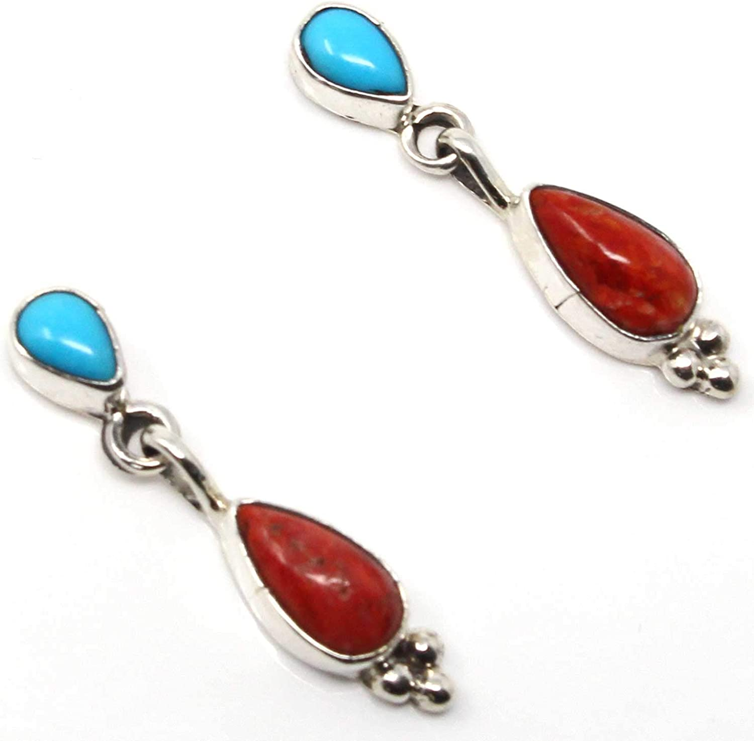 Navajo Sterling Silver Turquoise Multi-Stone Concho Dangle Earrings