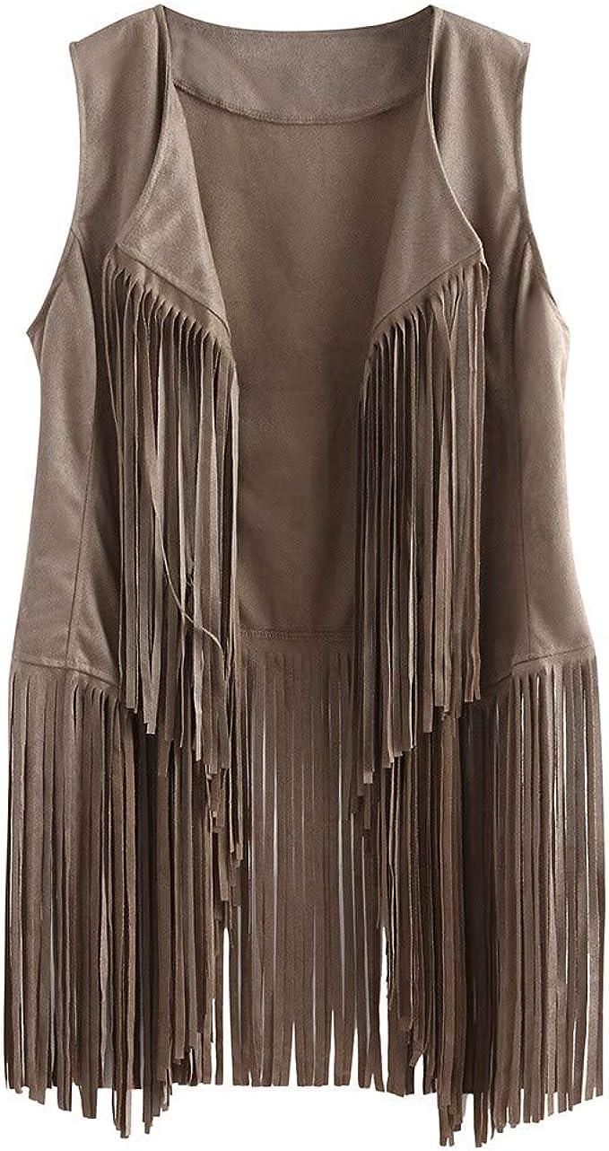 Womens Artificial Deer Velvet Vest Autumn Winter Suede Ethnic Sleeveless Tassels Fringed Vest Cardigan