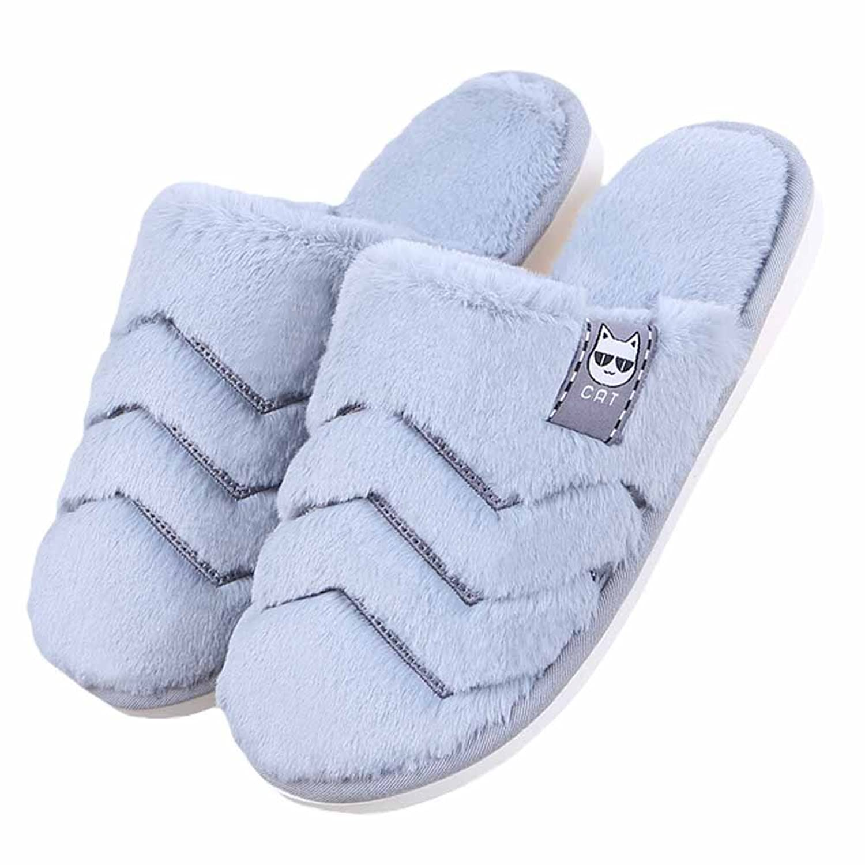 Soft Warm Couple House Slippers Unisex Comfortable Plush Anti-Slip Home Shoes